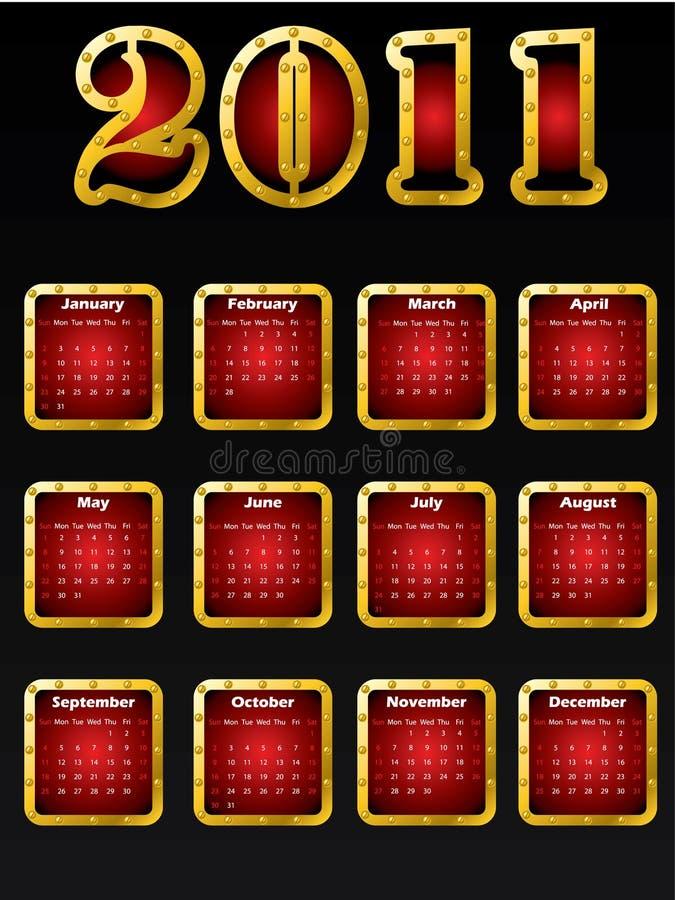 Un disegno dorato del 2011 calendario illustrazione vettoriale