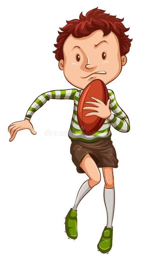 Un disegno semplice di giovane giocatore di rugby illustrazione vettoriale