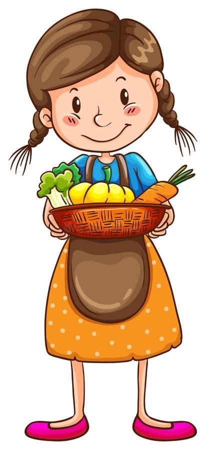 Un disegno semplice di una ragazza dell'azienda agricola illustrazione di stock