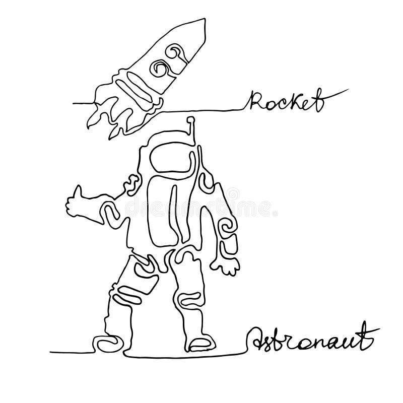 Un disegno a tratteggio continuo Astronauta, nave del razzo Explo dello spazio royalty illustrazione gratis