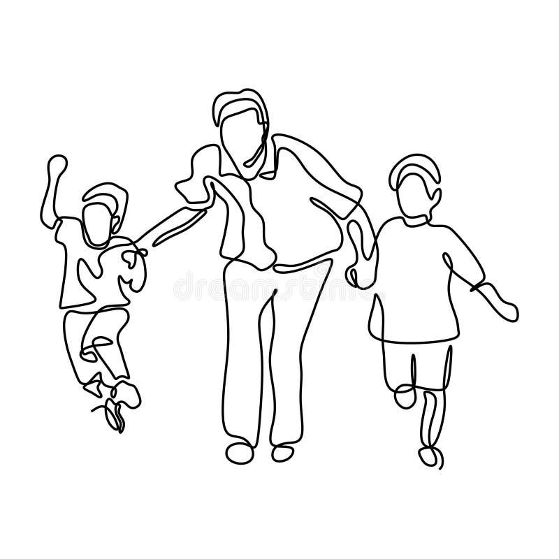Un disegno a tratteggio continuo del padre, del figlio e della figlia correre e saltanti illustrazione vettoriale