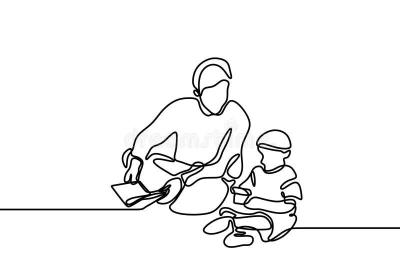 Un disegno a tratteggio continuo del padre insegna a per leggere il Corano santo a suo figlio illustrazione di stock