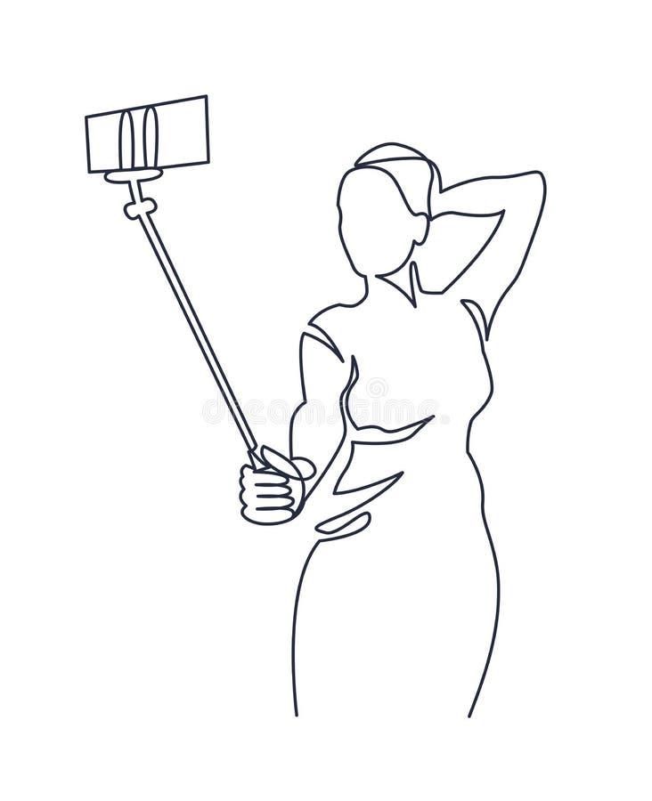 Un disegno a tratteggio continuo di bella donna di Selfie in un vestito uguagliante con un bastone del selfie Illustrazione di ve royalty illustrazione gratis