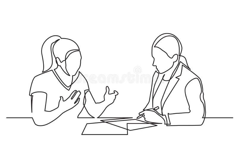 Un disegno a tratteggio continuo di due donne che discutono firmando i lavori di ufficio illustrazione di stock