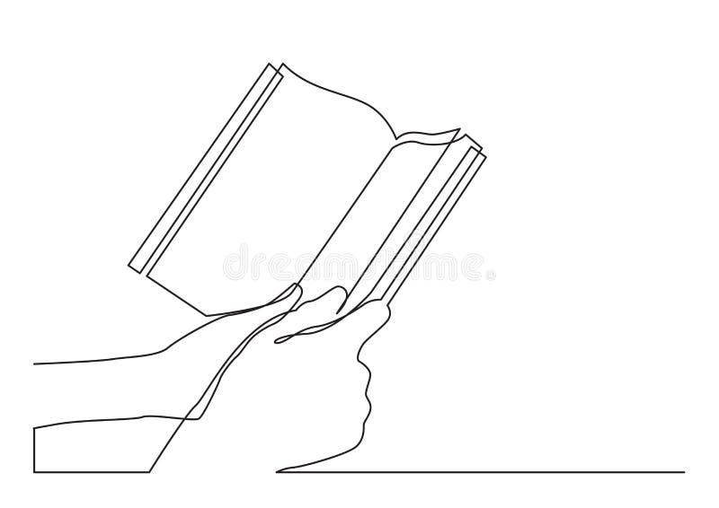 Un disegno a tratteggio continuo di due mani che tengono libro royalty illustrazione gratis