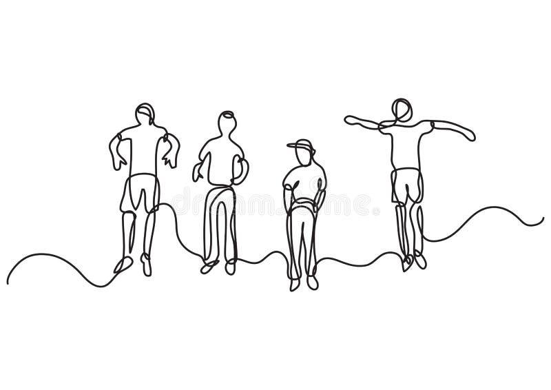 Un disegno a tratteggio continuo di due ragazzi di salto felici royalty illustrazione gratis