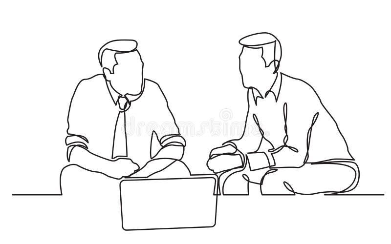 Un disegno a tratteggio continuo di due uomini d'affari che si siedono e che parlano illustrazione di stock