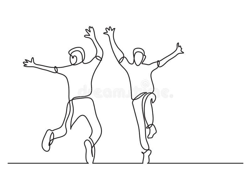 Un disegno a tratteggio continuo di un salto felice di due adolescenti royalty illustrazione gratis
