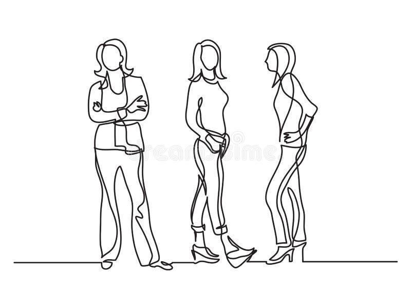 Un disegno a tratteggio continuo di tre donne stanti illustrazione vettoriale