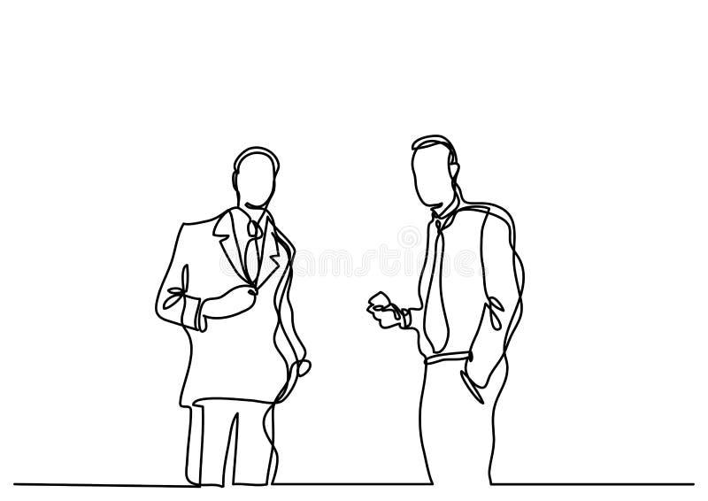 Un disegno a tratteggio continuo di una conversazione di due uomini d'affari illustrazione di stock