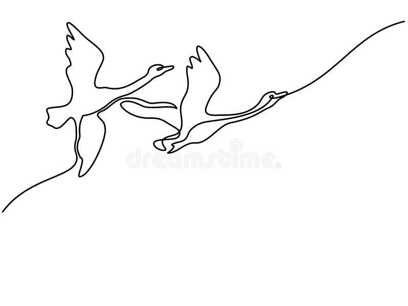 Un disegno a tratteggio continuo Logo dei cigni di volo royalty illustrazione gratis