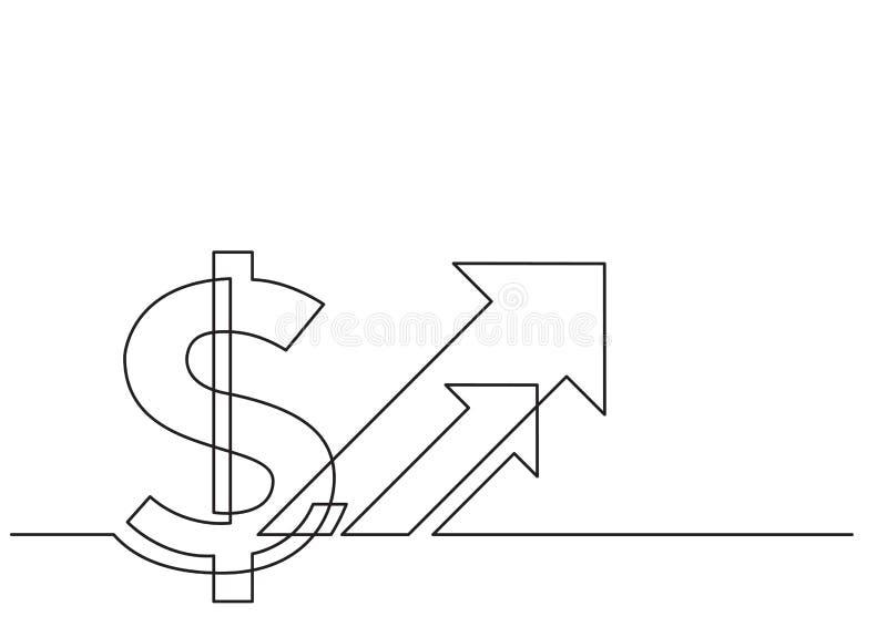 Un disegno a tratteggio dell'oggetto isolato di vettore - simbolo di dollaro con la freccia illustrazione vettoriale