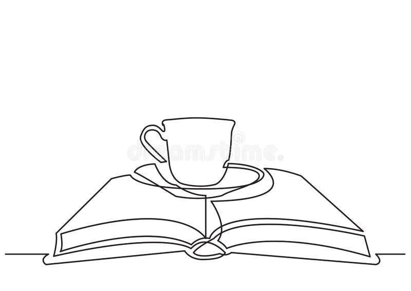 Un disegno a tratteggio dell'oggetto isolato di vettore - tazza di tè sul libro illustrazione di stock