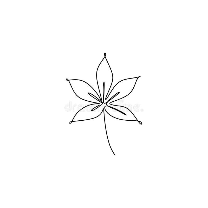 un disegno a tratteggio della foglia con stile semplice del minimalsm del lineart illustrazione vettoriale