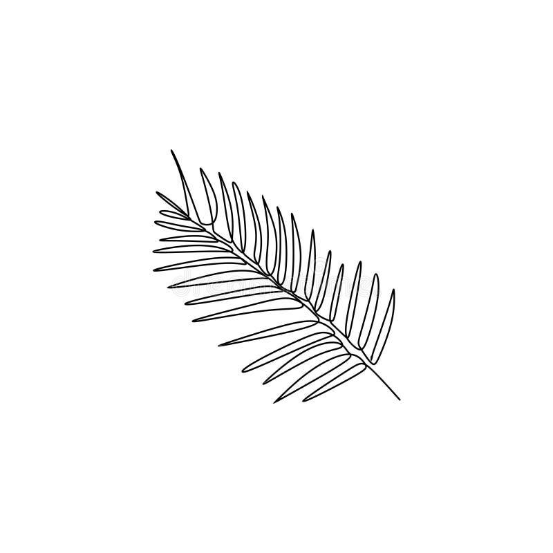 un disegno a tratteggio di foglia di palma con il tema semplice di estate di progettazione del lineart illustrazione vettoriale