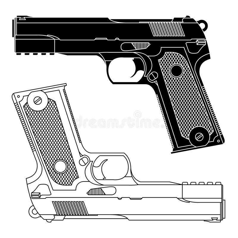Un disegno a tratteggio tecnico della pistola della pistola di 9mm royalty illustrazione gratis