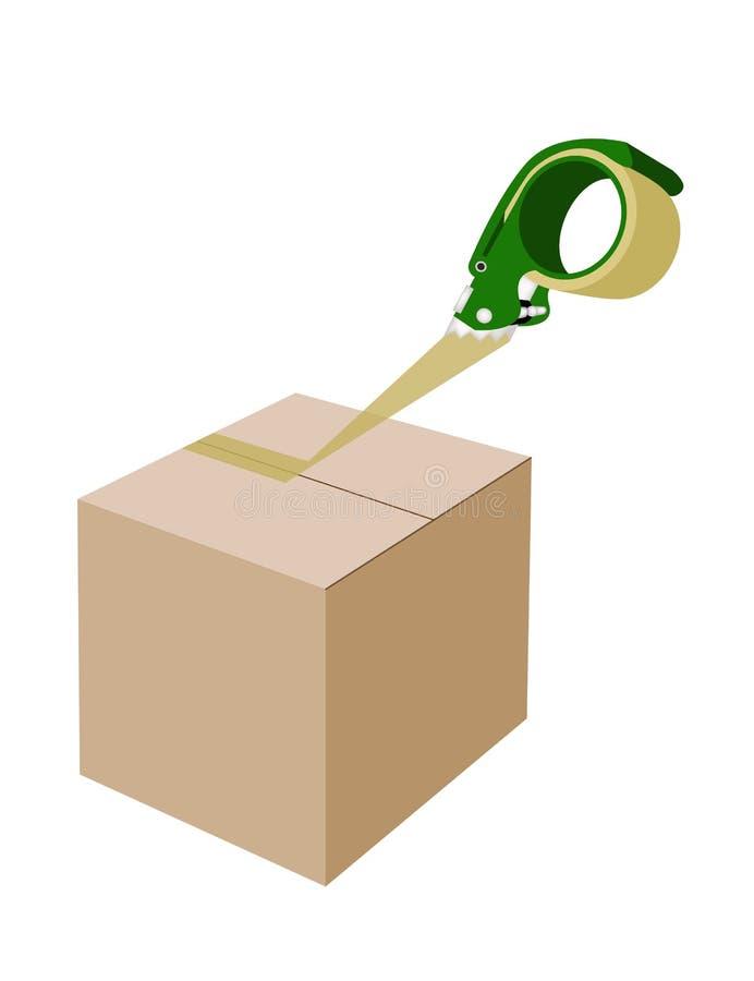 Un dispensador de la cinta adhesiva que cierra una caja de cartón stock de ilustración