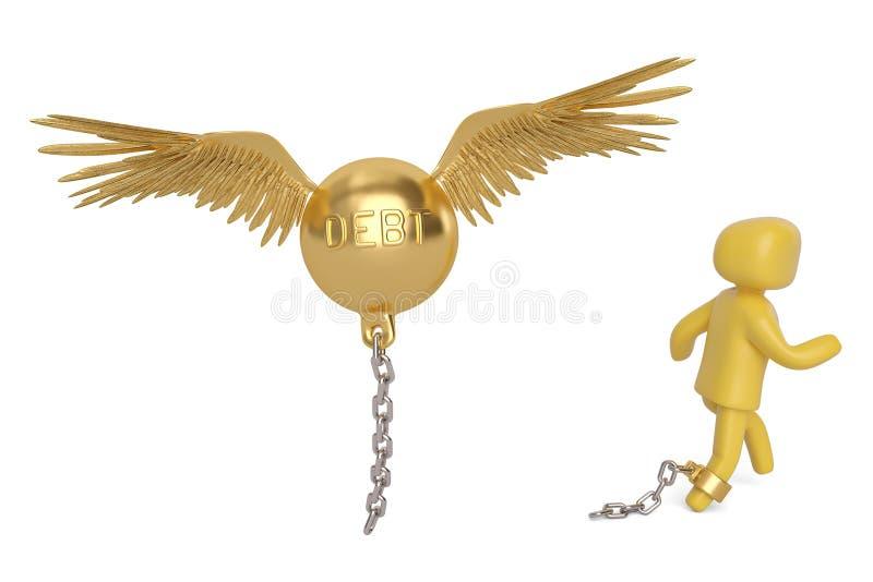 Un dispositivo d'ancoraggio di debito dell'oro di volo e del carattere illustrazione 3D illustrazione di stock