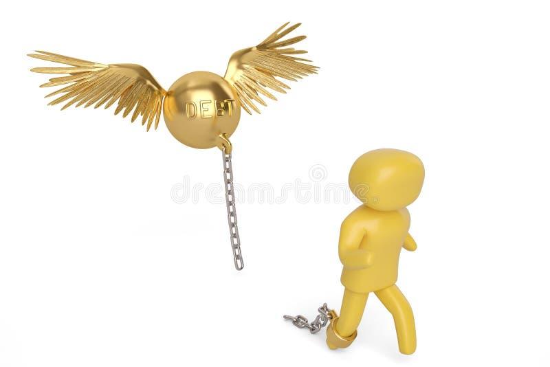 Un dispositivo d'ancoraggio di debito dell'oro di volo e del carattere illustrazione 3D royalty illustrazione gratis