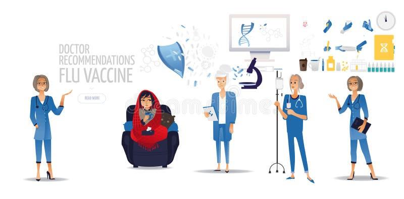 Un docteur dans une robe longue avec un vaccin de grippe et une fille dans une couverture rouge avec une tasse de thé sur le sofa illustration stock