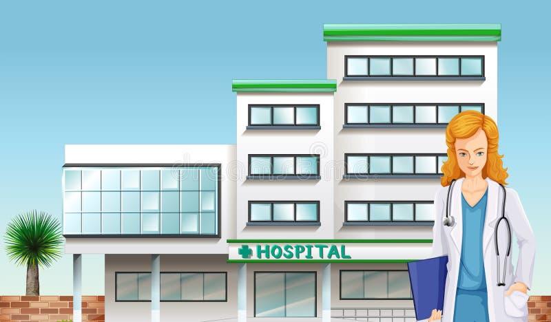 Un docteur devant le bâtiment d'hôpital illustration stock