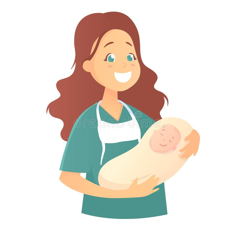 Un doctor de sexo femenino sonriente detiene a un bebé recién nacido fotos de archivo libres de regalías