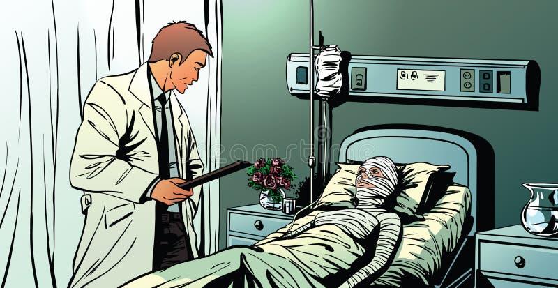 Un doctor que habla con un paciente femenino que miente en hospital stock de ilustración