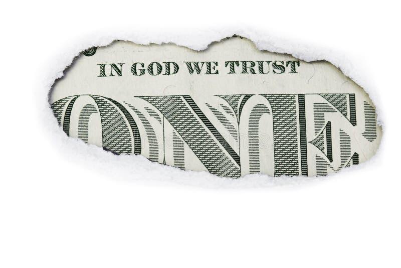 Un dollar dans Dieu que nous faisons confiance photographie stock