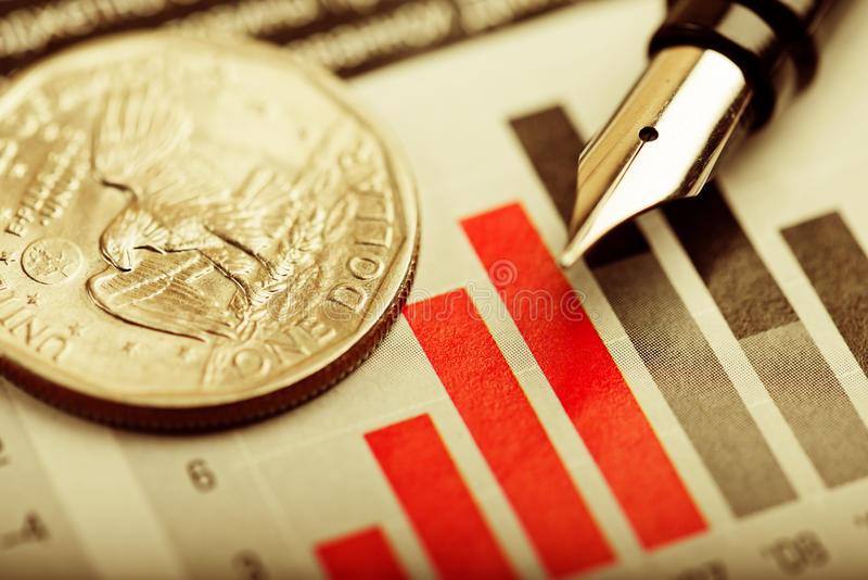 Un dollar sur le diagramme images stock