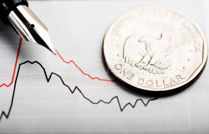 Un dollar sur le diagramme photos libres de droits