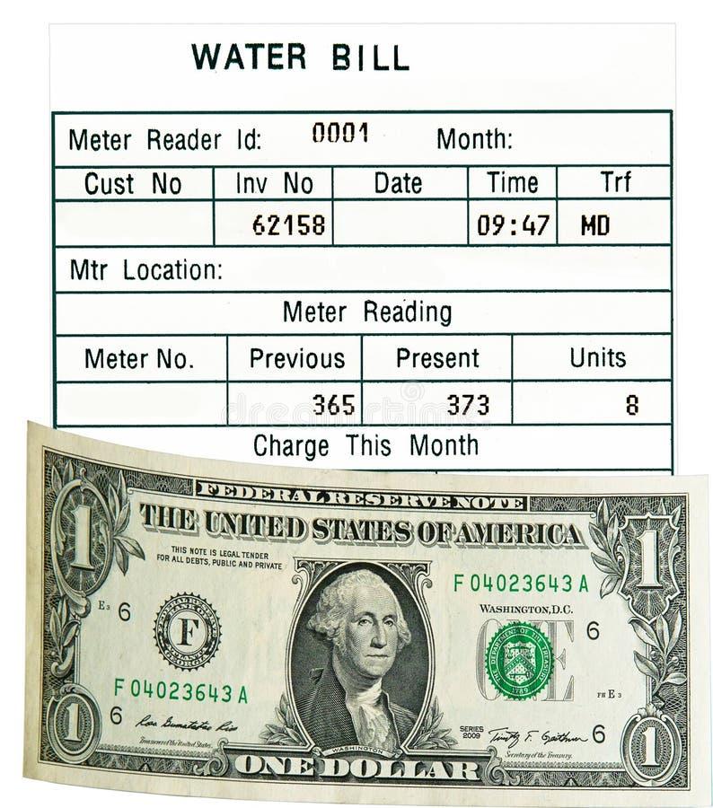 Un dollaro Stati Uniti & fattura di acqua. Isolato. Concetto. immagini stock