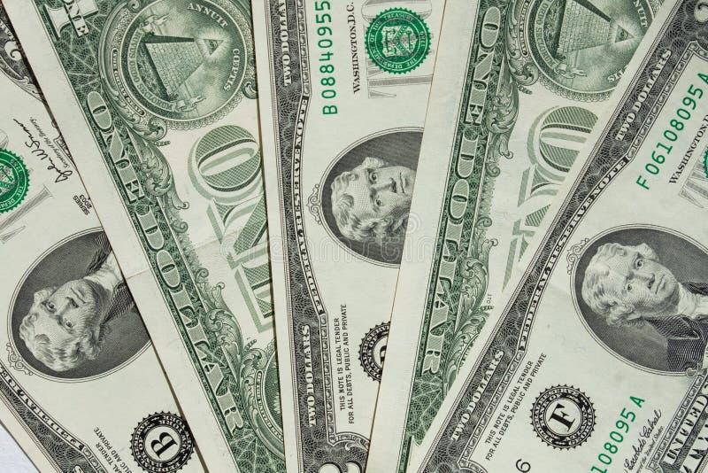 Un-dollars Et Deux-dollars De Facture Image stock