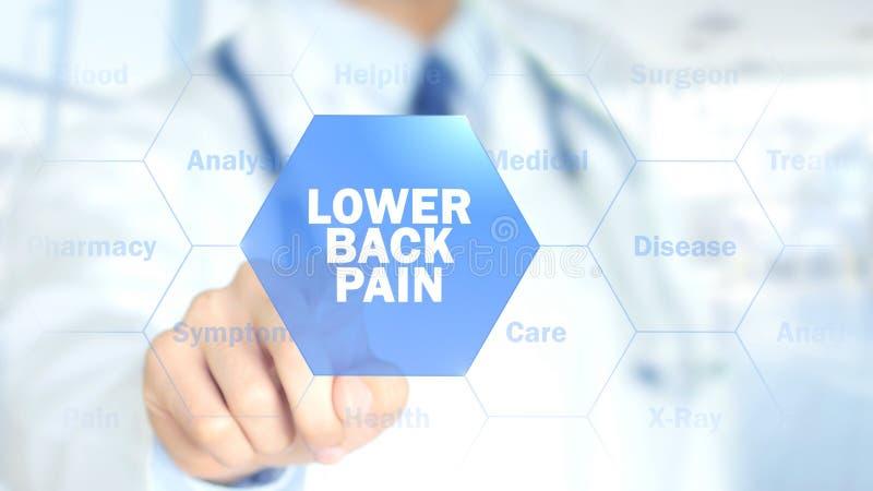 un dolor más de espalda, doctor que trabaja en el interfaz olográfico, gráficos del movimiento foto de archivo
