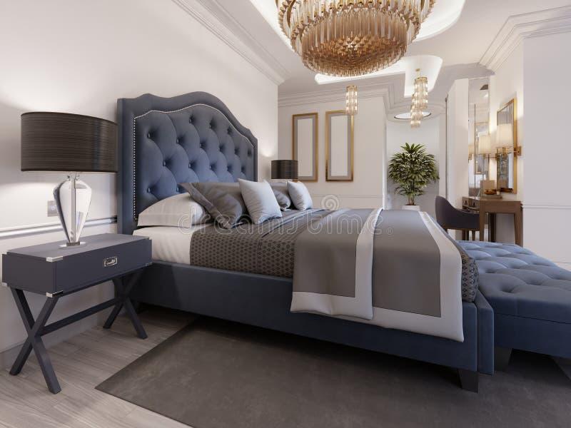 Un dormitorio lujoso en un estilo clásico con elementos del oro y un paño azul de la cama y un aparador y un tocador de madera libre illustration