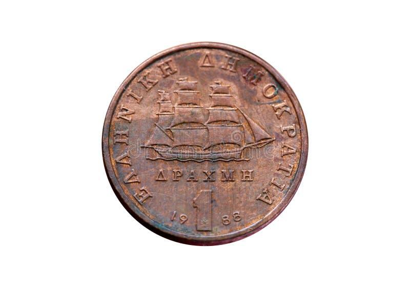 Un dracmas de viejo año griego de 1988, concepto de Grexit, o de la moneda fotografía de archivo