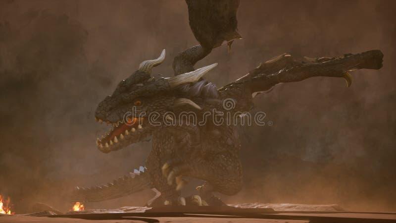 Un dragón enojado grande en el desierto está luchando apagado a sus enemigos representación 3d ilustración del vector