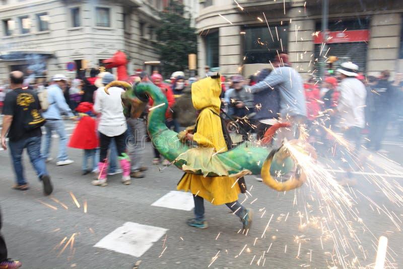 Un dragon ardent, La Merce, Barcelone, Catalogne, Espagne photos libres de droits