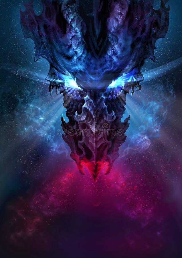 Un dragon noir énorme dans le style gothique illustration de vecteur