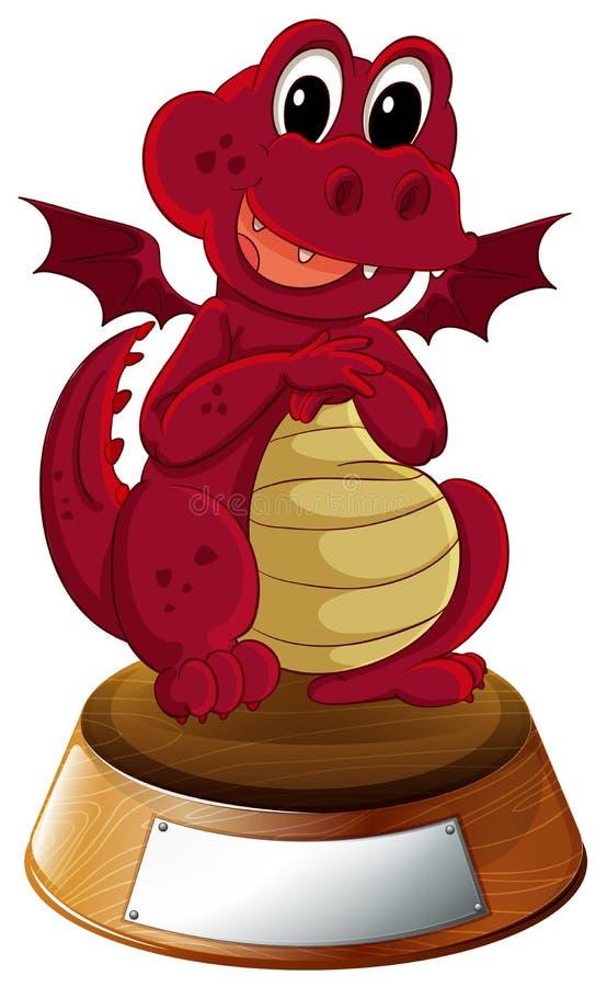 Un dragon rouge avec un calibre vide au fond illustration de vecteur
