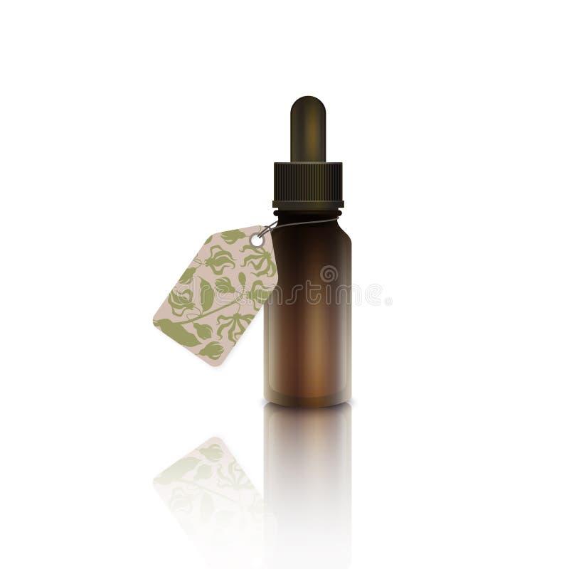 Un dropper con aceite esencial de la flor del ylang del ylang ilustración del vector