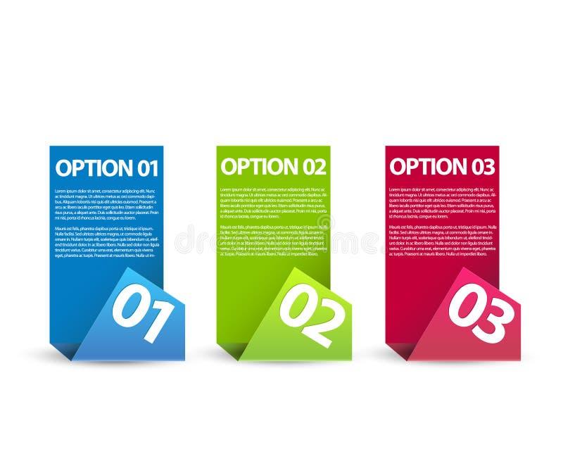 Un due tre - opzioni di carta di vettore illustrazione vettoriale