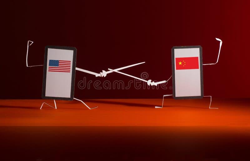 Un duelo con las espadas entre los artilugios de los E.E.U.U. y China imagen de archivo