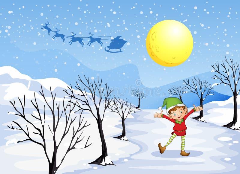 Un duende en un lugar nevoso stock de ilustración
