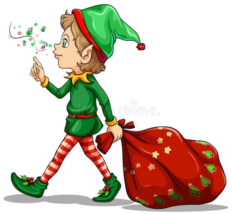 Un duende joven que arrastra un saco de regalos stock de ilustración