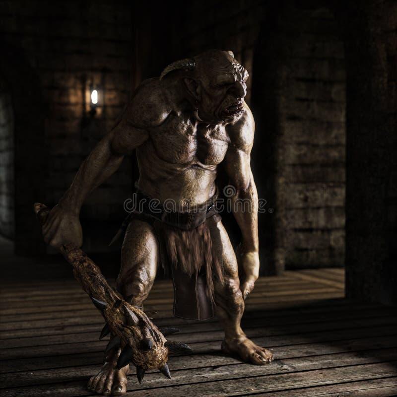Un duende malvado con el club claveteado que vaga los pasillos del laberinto que buscan la presa libre illustration