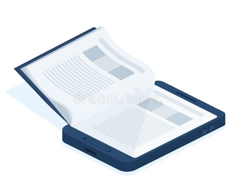 Download Un eBook de smartphone illustration de vecteur. Illustration du isométrique - 56476114