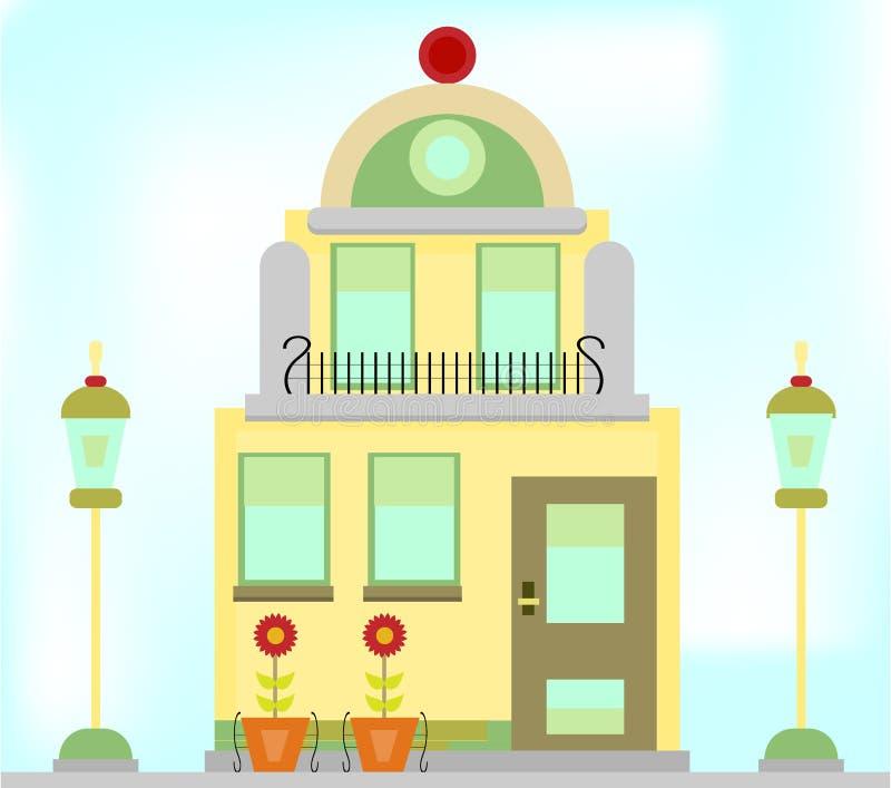 Un edificio romántico, viejo con las lámparas y flores ilustración del vector