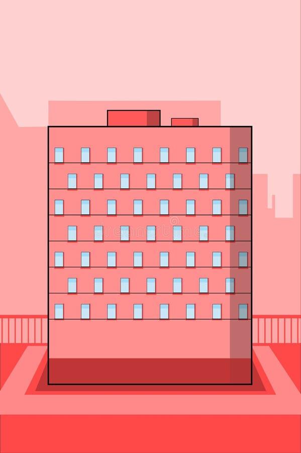 Un edificio vivo rojo en fondo con formas de la ciudad stock de ilustración