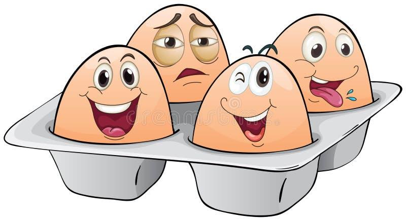 Un eggtray avec quatre oeufs illustration stock