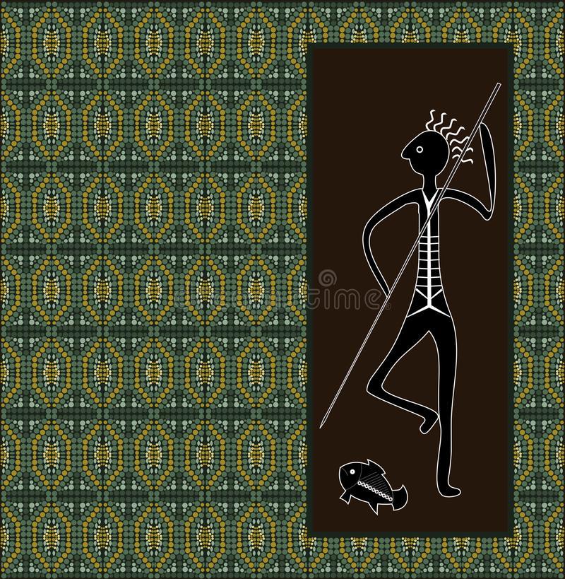 Un ejemplo basado en el estilo aborigen del depicti de la pintura del punto libre illustration
